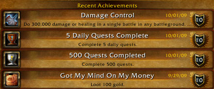 recent achievements 091001