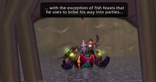 ... with the exception of fish feasts he uses to bribe his way into parties...