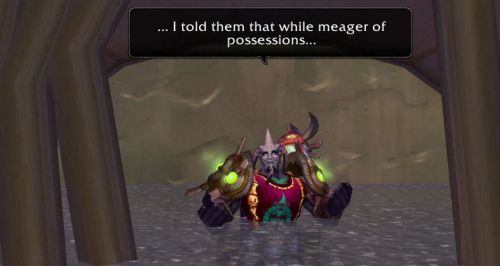 ... I told them that while meager of possessions...